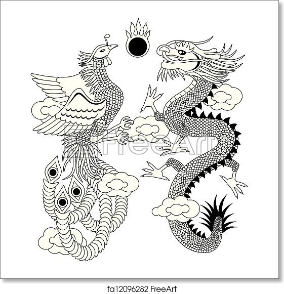 Free Art Print Of Dragon And Phoenix With Clouds Outline