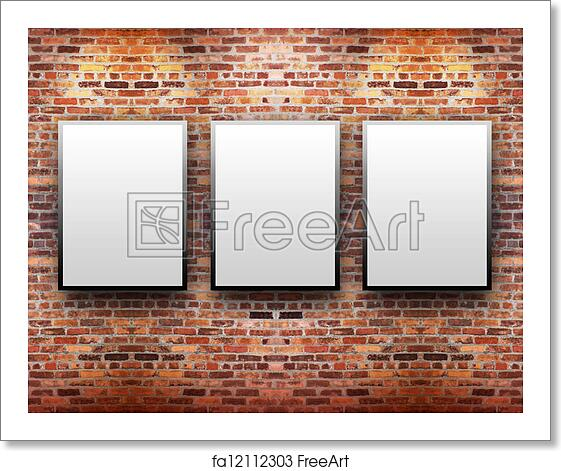 Free art print of Brick Display Art Gallery with Frames. Three blank ...