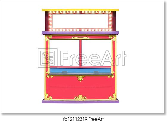 free art print of circus carnival ticket booth stand