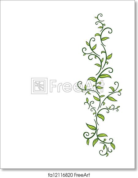 free art print of tribal vine with leaves tribal drawing of green
