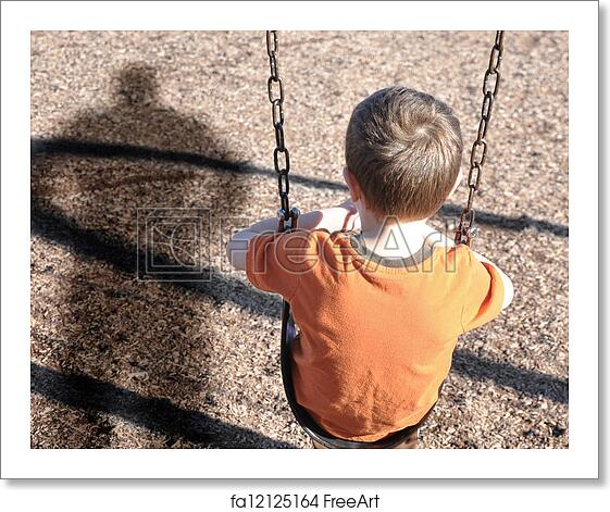 Free Art Print Of Scared Boy On Swingset With Bully Defense A Young