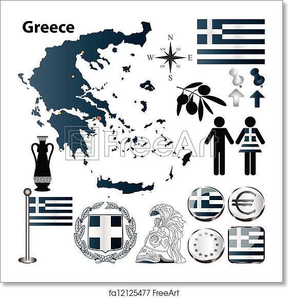 Free art print of Greece map