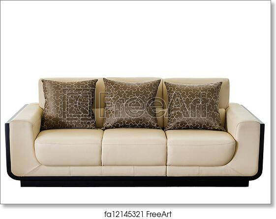 Free art print of Modern white cream leather sofa. Image of a modern ...