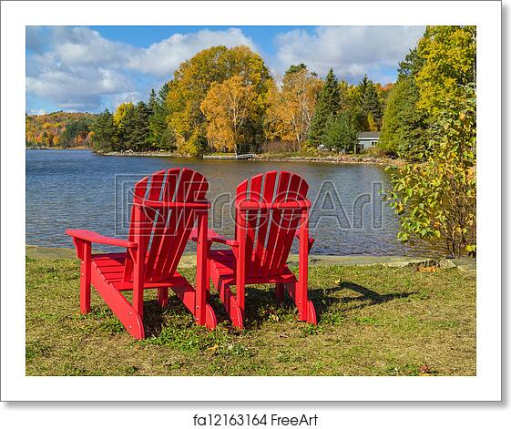Astounding Free Art Print Of Red Adirondack Chairs On A Lake Shore Bralicious Painted Fabric Chair Ideas Braliciousco