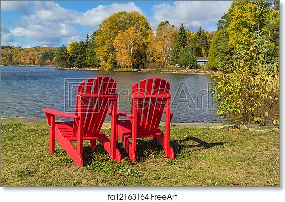 Free Art Print Of Red Adirondack Chairs On A Lake Shore