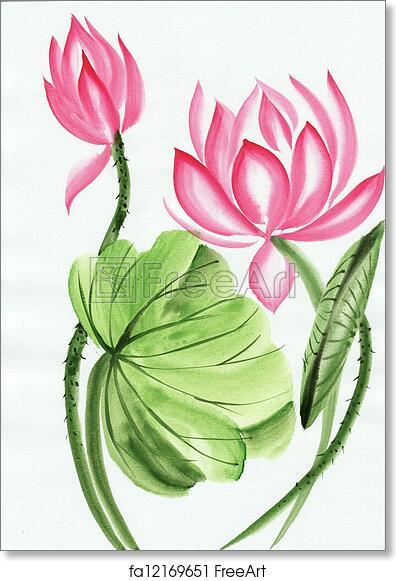 e2f45178b Free art print of Watercolor painting of pink lotus flower. Original art, watercolor  painting of pink lotus, Asian style painting | FreeArt | fa12169651