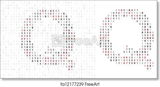free art print of letter q alphabet from binary code letter q