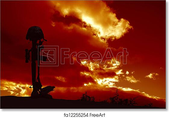 free art print of fallen soldier memorial an ar 15 rifle with