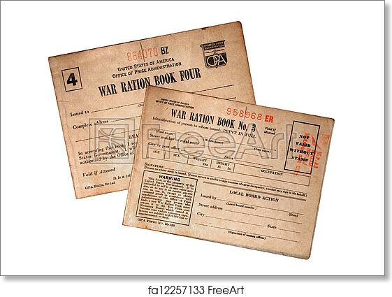 graphic about Ration Book Ww2 Printable known as Absolutely free artwork print of WWII Meals Ration Publications
