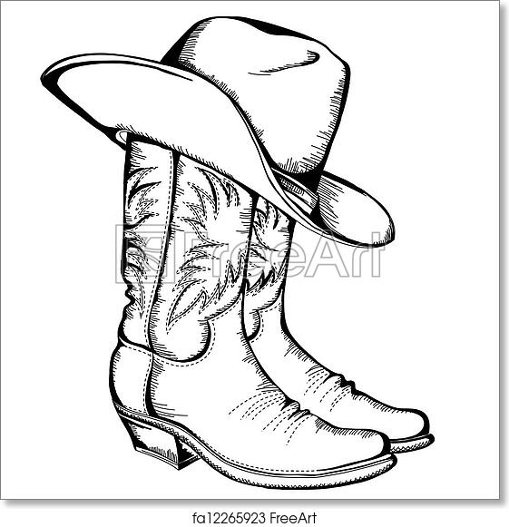 Free art print of Cowboy boots and hat.Vector graphic illustration  isolated. Cowboy boots and hat.Vector graphic illustration  0d6604b65e63