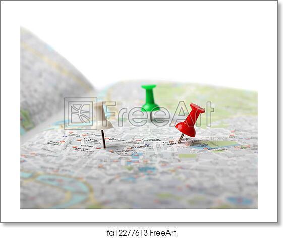 free art print of travel destination map push pins