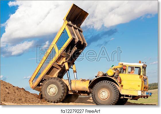 Free Art Print Of Heavy Dump Truck Unloading Soil