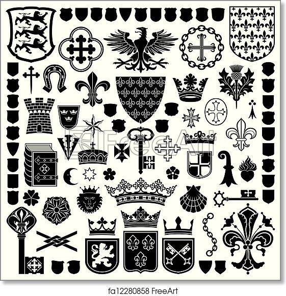 Free Art Print Of Heraldic Symbols And Decorations Collection Of