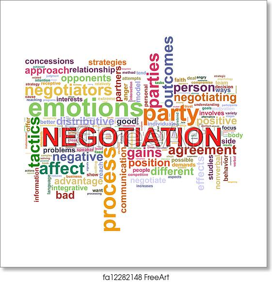 free art print of word tags of negotiation illustration of