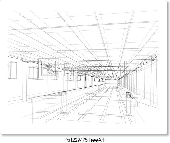 Free art print of 3d sketch of an interior of a public building