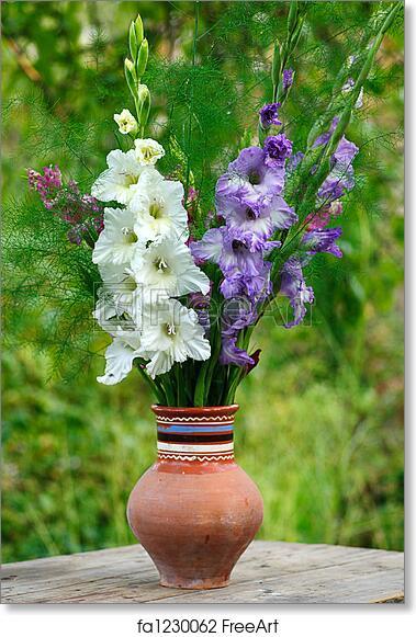 Free Art Print Of Gladiolus In Vase Bunch Of Flowers Gladiolus In