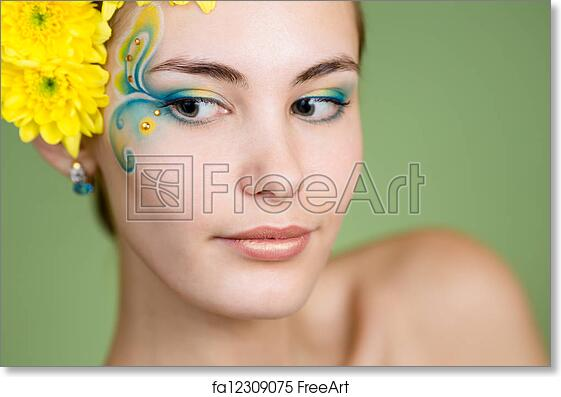 Free Art Print Of Young Girl Model With Fantasy Makeup And Chrysanthemum Flowers In Her Hair