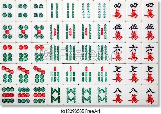 image about Mahjong Rules Printable known as No cost artwork print of Mahjong tiles