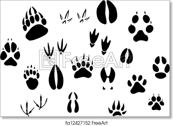 graphic regarding Printable Animal Footprints named Cost-free artwork print of Animal footprints silhouettes