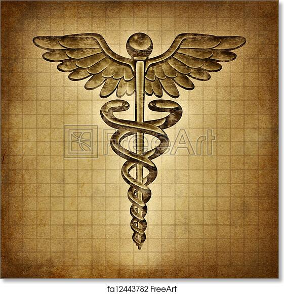 Free Art Print Of Caduceus On An Old Grunge Parchment Document As A