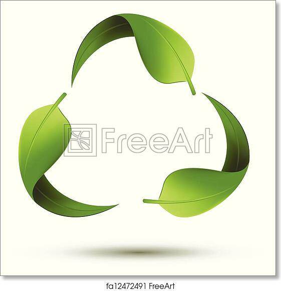 photo relating to Printable Recycle Symbol known as Free of charge artwork print of Recycle Brand with Leaf