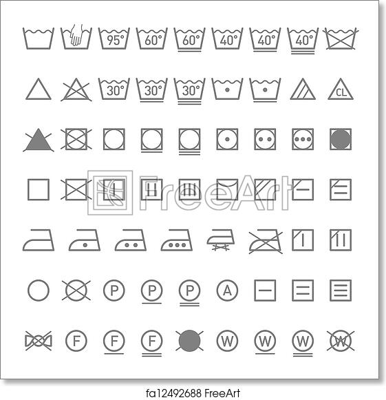 graphic about Printable Laundry Symbols identify Cost-free artwork print of Laundry symbols