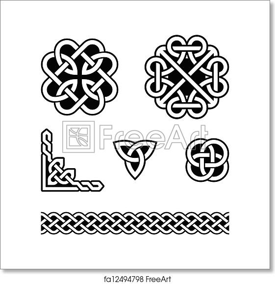 Free Art Print Of Celtic Knots Patterns Vector Set Od Traditional Amazing Celtic Knot Patterns