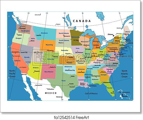 Free art print of United States map vector