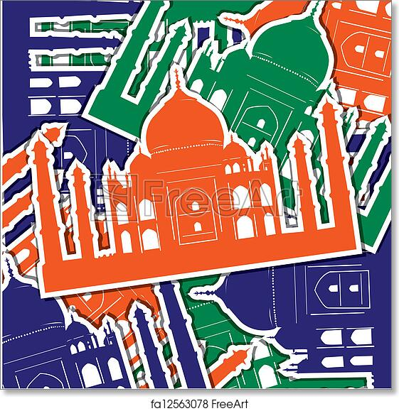 Free Art Print Of Happy Indian Independence Day Taj Mahal Sticker
