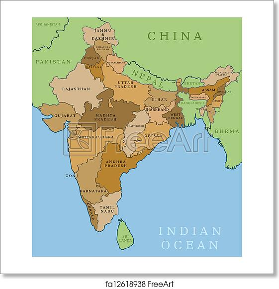 Free art print of India states India Map With State Borders on india map with lakes, india map with important cities, india map with capitals, india map with roads, india map with rivers, india map with airports, india map with railroads, india map with mountain ranges,