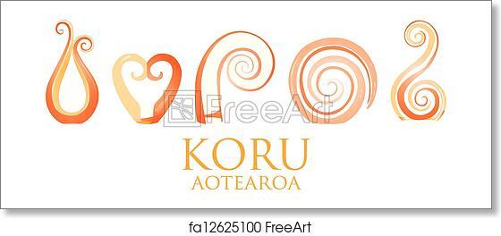 4b7e40507aee9 Free art print of Koru. A set of orange glass Maori Koru curl ...