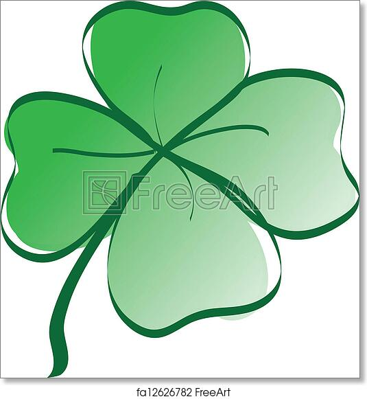 graphic relating to Printable Four Leaf Clover identified as No cost artwork print of Fortunate 4 leaf clover