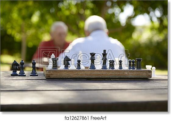 Free art print of Active retired people, two old friends playing chess at  park