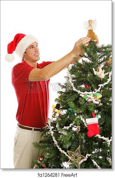 Free Art Print Of Decorating Christmas Tree Placing Angel Tall