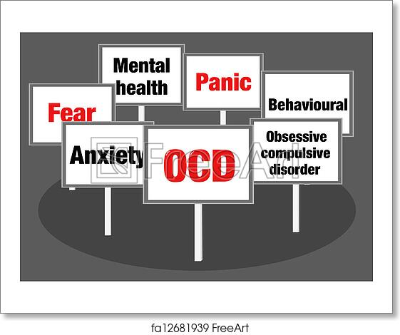 dce045dc716 Obsessive compulsive disorder OCD concept illustration with signs and text
