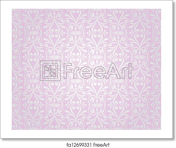 Free Art Print Of Pink Silver Vintage Wallpaper