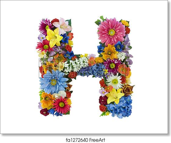 Free art print of Flower Alphabet - H. Letter H made of ...