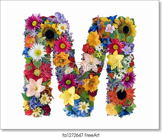 free art print of flower alphabet m letter m made of flowers