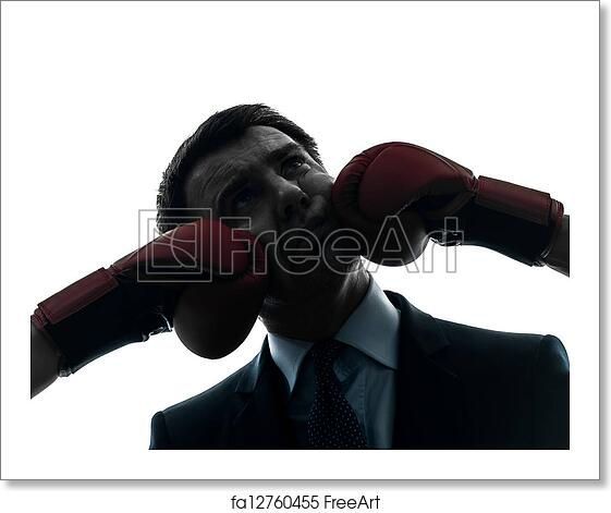 free art print of business man punch by boxing gloves silhouette