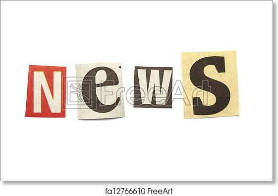 Free art print of Cut out letters saying news