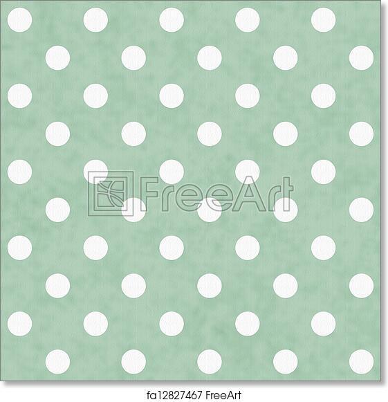 Free Art Print Of Green And White Polka Dot Fabric Background Green