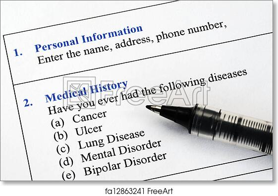 free art print of medical history questionnaire filling the patient