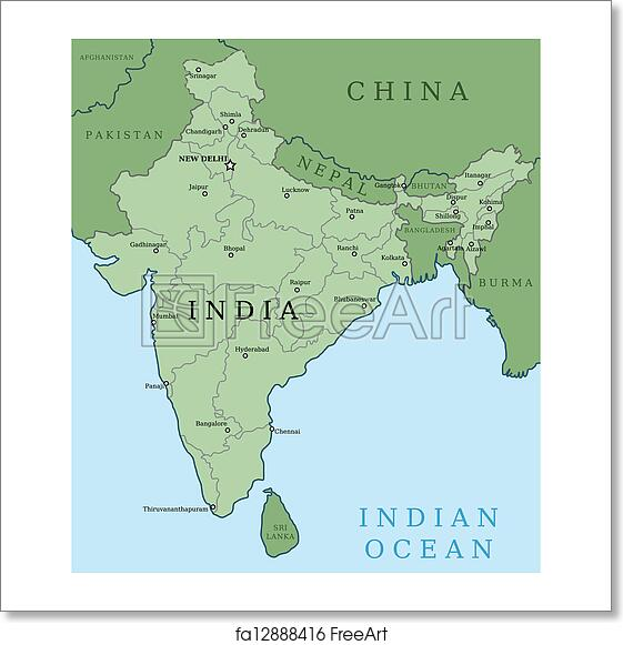 Free Art Print Of Map Of India Map Of India Outline Illustration