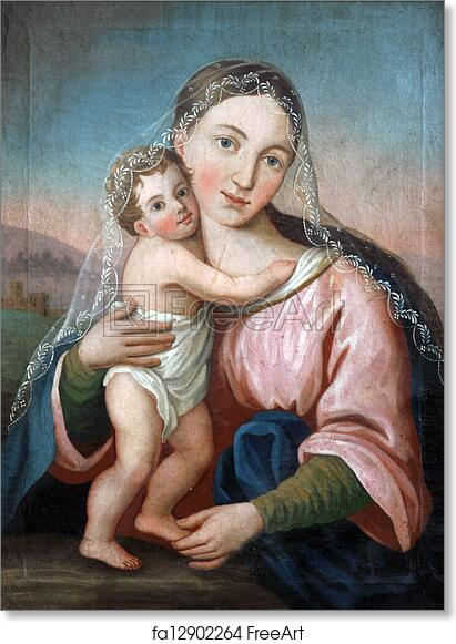 free art print of blessed virgin mary with baby jesus freeart