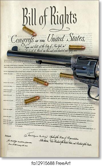 picture about Bill of Rights Printables known as Absolutely free artwork print of Revolver and bullets upon monthly bill of legal rights
