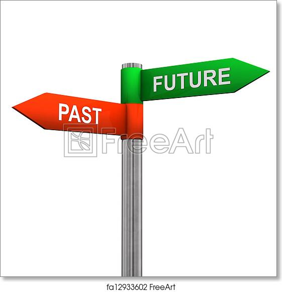 free art print of past future direction sign signpost with two