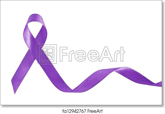 free art print of purple ribbon a symbol of pancreatic cancer with
