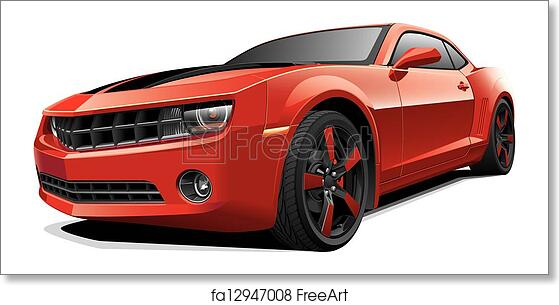Free Art Print Of Red Muscle Car Detail Vector Image Of Red Modern