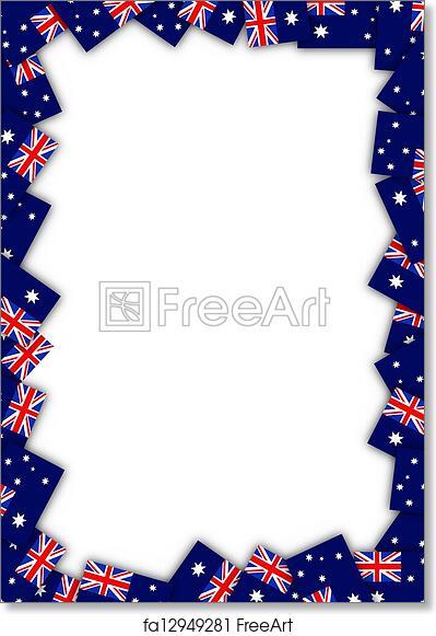 Free Art Print Of Australia Flag Border Illustrated