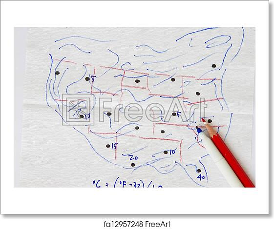 Us Map Artwork.Free Art Print Of Sketch Of Us Map With Temperature Sketch Of Us